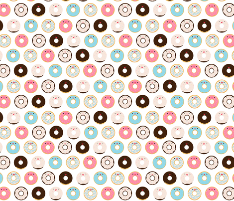 Cute Smiling Donuts fabric by girlfrommars on Spoonflower - custom fabric