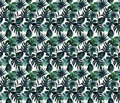 tropical Leaves-DeepSea-small fabric by crystal_walen on Spoonflower - custom fabric