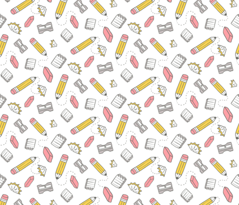 BIG pencil eraser sharpener pattern fabric by kostolom3000 on Spoonflower - custom fabric