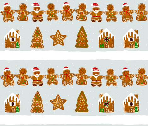 Gingerbread Men fabric by lestey on Spoonflower - custom fabric