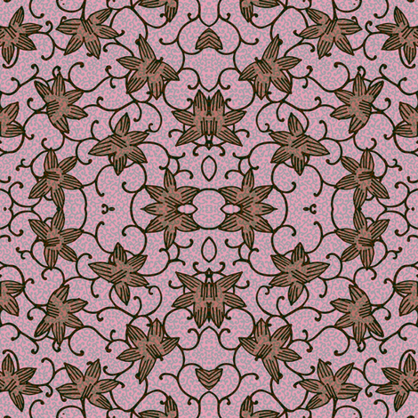 Mirrored flowers and curlicues fabric by samantha_w on Spoonflower - custom fabric