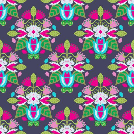 Block Folk Floral on Dark Purple fabric by samantha_w on Spoonflower - custom fabric