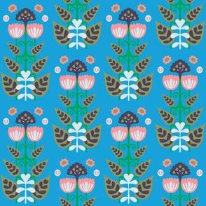 Blue Block Folk Floral