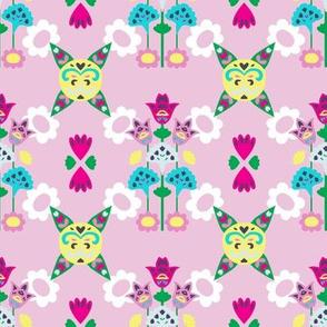 Pink Block Folk Floral