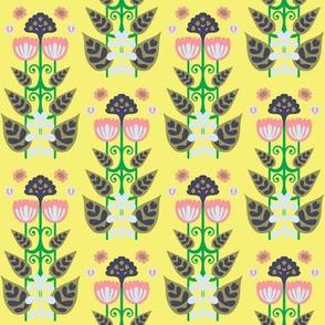 Yellow Block Folk Floral