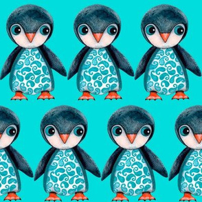 Penguins On Teal