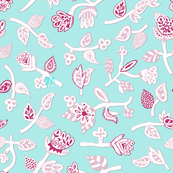 Blue and pink floral