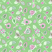 Green and pink floral