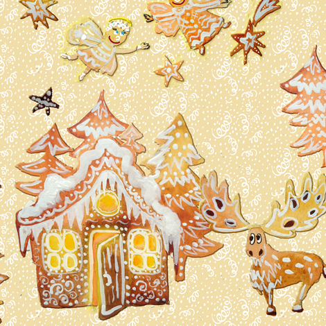 Gingerbread forest day fabric by magic_pencil on Spoonflower - custom fabric