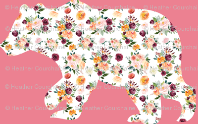 "3"" Floral Bear Silhouettes on Pink"