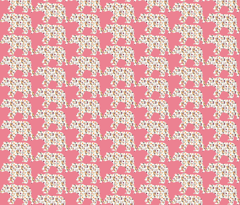 "3"" Floral Bear Silhouettes on Pink fabric by greenmountainfabric on Spoonflower - custom fabric"