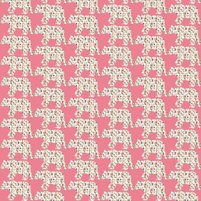 """3"""" Floral Bear Silhouettes on Pink"""