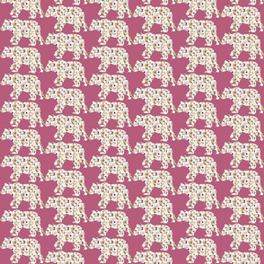 """3"""" Floral Bear Silhouettes on Mauve"""