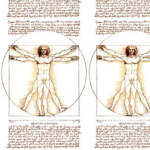 1 uncensored Vitruvian Man Leonardo da Vinci classical Renaissance anatomy anatomical studies portraits ratios sepia antique nude naked architecture nudity circles squares body proportions mathematics art