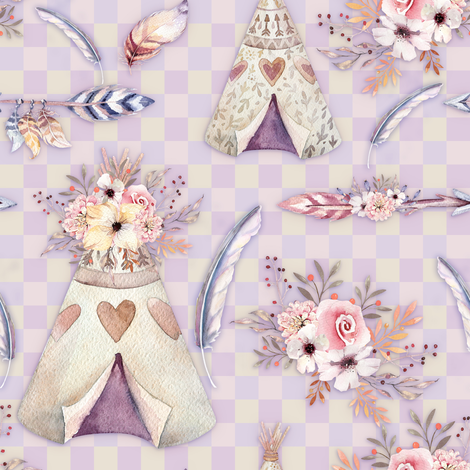 SPRING TEEPEE FLOWERS FEATHERS GINGHAM MAUVE YELLOW PINK fabric by floweryhat on Spoonflower - custom fabric