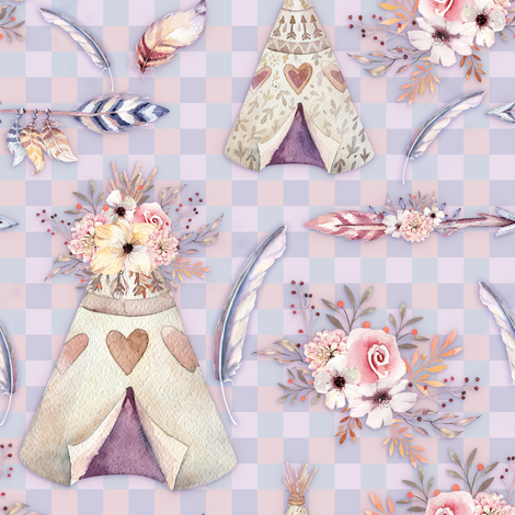 PEACH BLUE SPRING TEEPEE FLOWERS FEATHERS GINGHAM fabric by floweryhat on Spoonflower - custom fabric