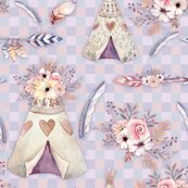 Rspring-teepee-flowers-feathers-gingham-peach-blue-by-floweryhat_shop_thumb