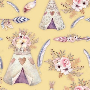 SPRING TEEPEE FLOWERS FEATHERS BUTTER YELLOW