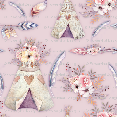 SPRING TEEPEE FLOWERS FEATHERS ARROWS POWDER PINK