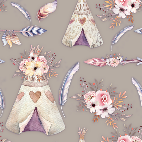 SPRING TEEPEE FLOWERS FEATHERS ARROWS SAND TAUPE BEIGE fabric by floweryhat on Spoonflower - custom fabric