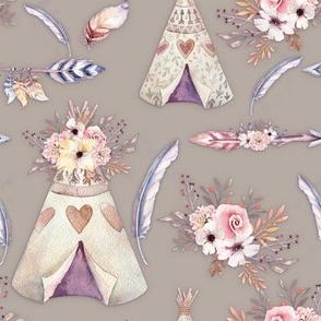 SPRING TEEPEE FLOWERS FEATHERS ARROWS SAND TAUPE BEIGE