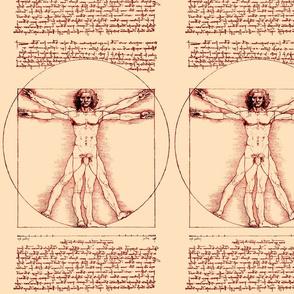 2 censored Vitruvian Man Leonardo da Vinci classical Renaissance anatomy anatomical studies portraits ratios sepia antique nude naked architecture brown fig leaves leaf nudity circles squares body proportions mathematics art