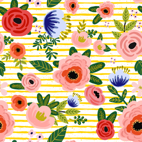 "8"" Fresh Blooms - Yellow Stripes fabric by shopcabin on Spoonflower - custom fabric"
