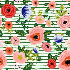 "8"" Fresh Blooms - Green Stripes"