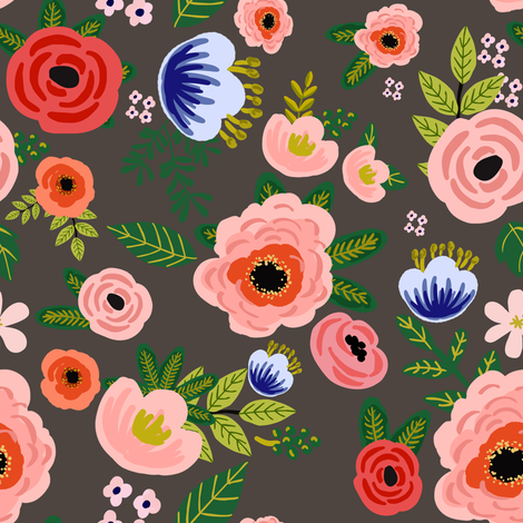 "8"" Fresh Blooms - Brown fabric by shopcabin on Spoonflower - custom fabric"