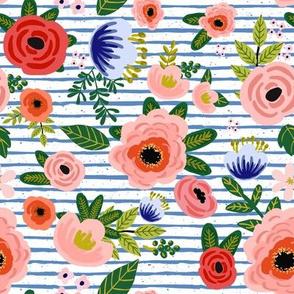 "8"" Fresh Blooms - Blue Stripes"