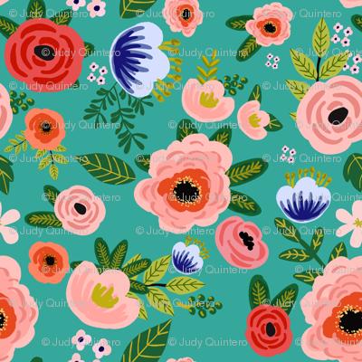 """8"""" Fresh Blooms - Aqua"""