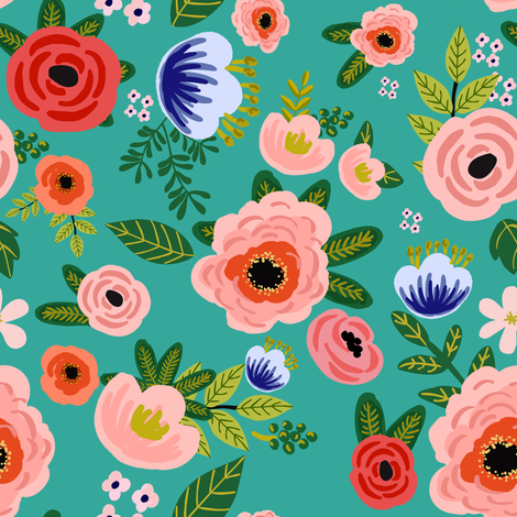 "8"" Fresh Blooms - Aqua fabric by shopcabin on Spoonflower - custom fabric"