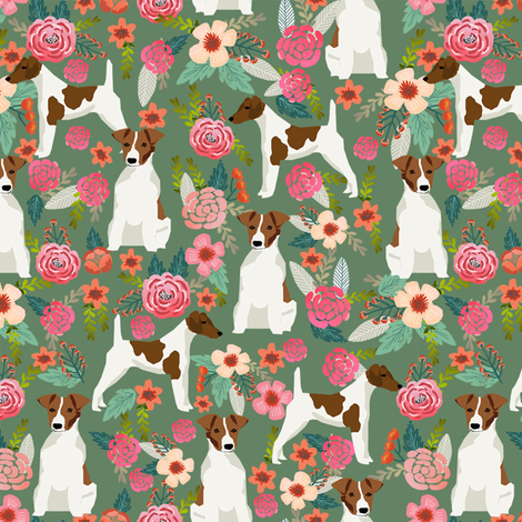 smooth fox terrier floral flowers dog breed fabric green fabric by petfriendly on Spoonflower - custom fabric