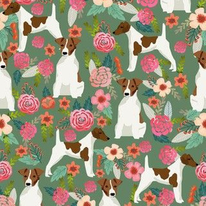 smooth fox terrier floral flowers dog breed fabric green