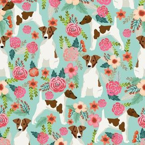 smooth fox terrier floral flowers dog breed fabric mint