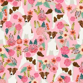 smooth fox terrier floral flowers dog breed fabric pink