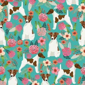 smooth fox terrier floral flowers dog breed fabric turquoise