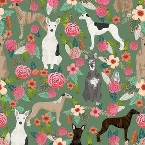whippet florals mixed coats dog breed fabric green