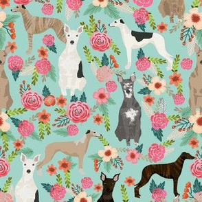 whippet florals mixed coats dog breed fabric mint