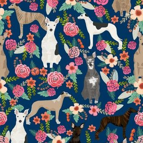 whippet florals mixed coats dog breed fabric navy