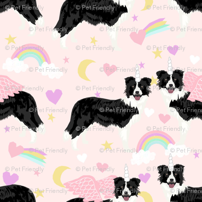 border collie unicorn pastel rainbows dog breed fabric pink