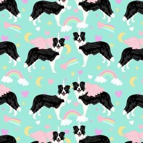 border collie unicorn pastel rainbows dog breed fabric mint