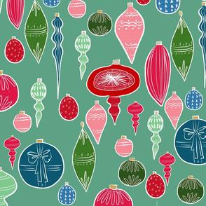 Vintage Christmas Ornaments Multi on Teal