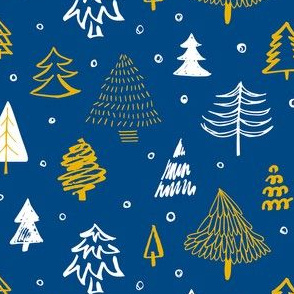 Christmas trees blue and gold