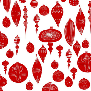 Vintage Red Christmas Ornaments on White