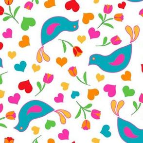 Folk Art Birds Hearts and Flowers