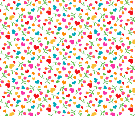 Folklore Hearts and Flowers on White fabric by ileneavery on Spoonflower - custom fabric