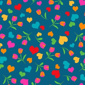 Folklore Hearts and Flowers onTeal