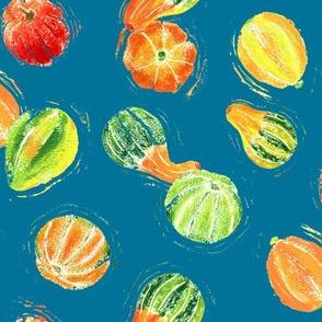 Ratatouille - Block Print Veggies on Teal