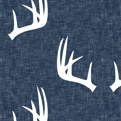 (jumbo scale) antlers on navy linen fabric by littlearrowdesign on Spoonflower - custom fabric